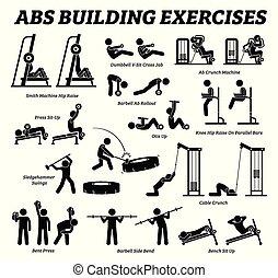 בנין, הבן, בטן, pictograms., א.ב.ס., הדבק, שריר, התאמן