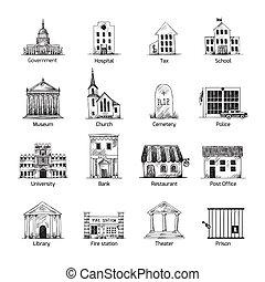 בנין, ממשלה, קבע, איקונים