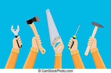 בנין, עובדים, כלים, להחזיק ידיים