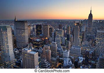 בנין, עיר, with., אנטנה, פנורמה, קו רקיע, צין, שקיעה, יורק, חדש, אימפריה, מנהאטן, הבט