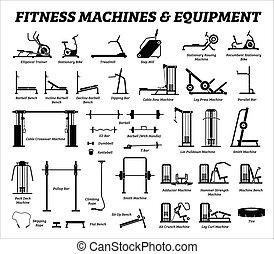 בנין, קבע, כארדיו, equipments, מכונות, gym., כושר גופני, שריר
