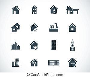 בנין, קבע, שחור, וקטור, איקונים