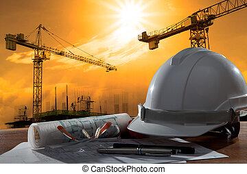 בנין, קסדה, בטיחות, קטע, pland, עץ, אדריכל, תייק, שולחן, בניה, שקיעה
