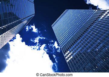 בנין, שמיים כחולים, חושך, של איגוד מקצועי, ענן