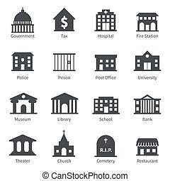 בנינים של ממשלה, איקונים
