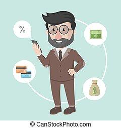 בנקאות, איש, עסק, אונליין