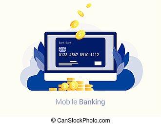 בנקאות, concept., אונליין, כרטיס, זכה