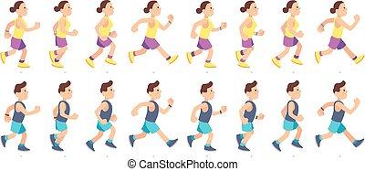 בעל, בגדי ספורט, אישה, אנשים, animation., ספורט, race., אופי, איש, ספורטאי, מרתון, קשר, running., ריצה באיטיות