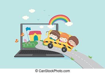 בעצם, ילדים, מחשב נייד, בית ספר, דוגמה