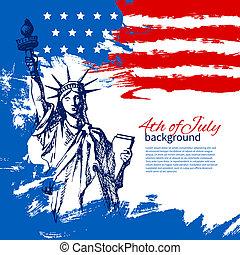 בציר, העבר, אמריקאי, *רביעי, עצב, רקע, flag., צייר, יולי, יום, עצמאות