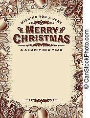 בציר, העתק, כרטיס, דש, פסק, חום, חג המולד שמח