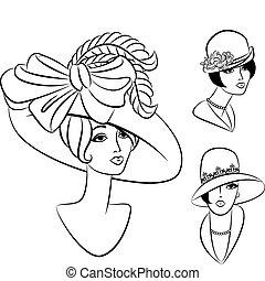 בציר, ילדה, עצב, hat.