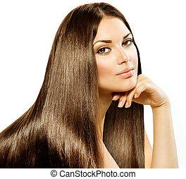 ברונט, ילדה, hair., הפרד, יפה, ארוך, ישר, לבן