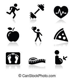 בריאות, איקון, שחור, נקי, כושר גופני