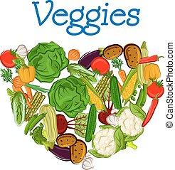 בריא, טרי, לב, ירקות