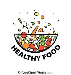 בריא, ירקות, דיאטה, וקטור, לוגו, טרי