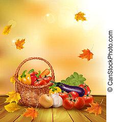 בריא, basket., ירקות, דוגמה, אוכל., סתו, וקטור, רקע, טרי