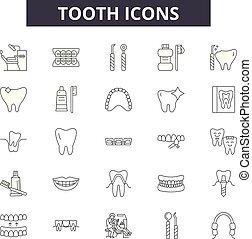 בריא, illustration:, שן, קבע, תאר, מושג, שן, רופא שניים, vector., ריפוי שיניים, דאג, קו, בריאות, סימנים, איקונים