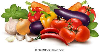 בריא, leaves., דוגמה, eating., וקטור, ירק, טרי
