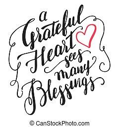 ברכות, קליגרפיה, לב, מלא תודות, רואה, הרבה