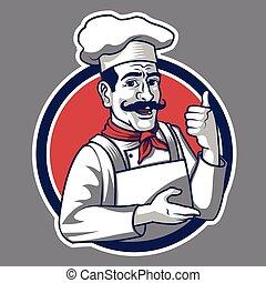 ברנדינג, וקטור, דוגמה, בציר, מסעדה, עסק, לוגו, קמיע, טבח, מסורתי