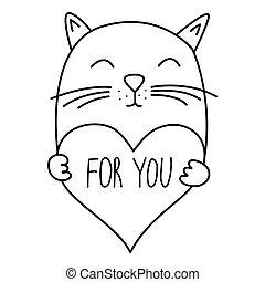בתוך, הפרד, ולנטיין, חמוד, צפה, heart., חתולים, לבן, אהוב, כרטיסים של דש, שרבט, צייר, חתול, אוביקטים, וקטור, העבר, מצחיק, כתוב, דוגמה, טקסט, רקע.