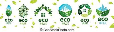 בתים, איקונים, קבע, וקטור, אקולוגי