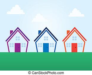 בתים, צבעים, תאר, תקציר