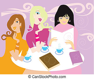 גברות, הזמן, פגישה, אחסן