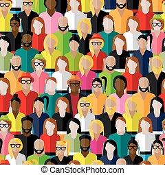 גברים, women., וקטור, תבנית, קבץ, fla, seamless, גדול