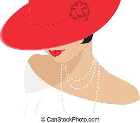 גברת, כובע, אדום