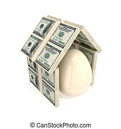 גג, כסף., מתחת, קליפת ביצה, עשה