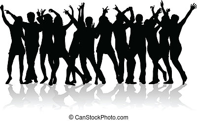גדול, אנשים, קבץ, צעיר, לרקוד