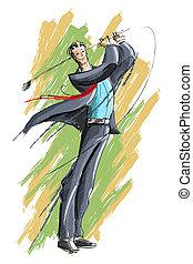 גולף, לשחק, איש של עסק
