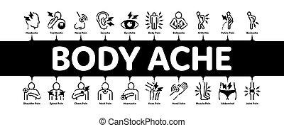 גוף, infographic, דגל, וקטור, כאב, מינימלי