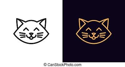 גור, מצחיק, הובל, תאר, חמוד, editable, ליניארי, חתול, שפמונים, emoji, איקון, stroke., צפה