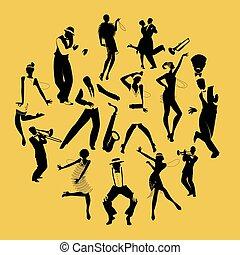 ג'ז רוקד, רקדנים, צלליות, מוסיקאיים, צ'ארלאסטון