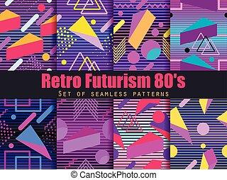 גיאומטרי, 80's., תבנית, retrowave., synthwave, רקע., וקטור, יסודות, פאטאריסם, ממפיס, סיגנון, set., ראטרו, seamless, דוגמה