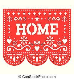 גיאומטרי, out, picado, אדום, תפאורה, חתוך, קישוט, עצב, צורות, פרחים, האוסאווארמינג, בית, מקסיקני, נייר, וקטור, papel, מפלגה