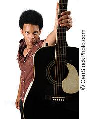 גיטרה, אפריקני, להחזיק, איש