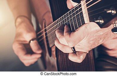 גיטרה אקוסטית, שחק