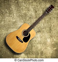 גיטרה, אקוסטי, ישן, קיר