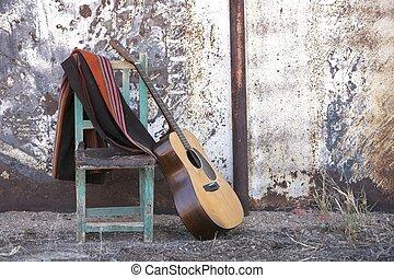 גיטרה, אקוסטי, כסא, לסמוך