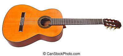 גיטרה, אקוסטי, לבן, הפרד, קלאסי