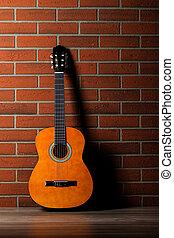 גיטרה, אקוסטי, לסמוך נגד, wall.