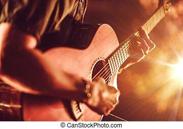 גיטרה, אקוסטי, לשחק
