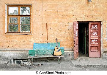 גיטרה, אקוסטי, ספסל