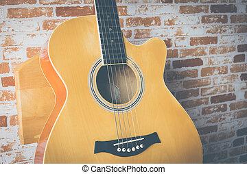 גיטרה, אקוסטי, קיר של לבנה