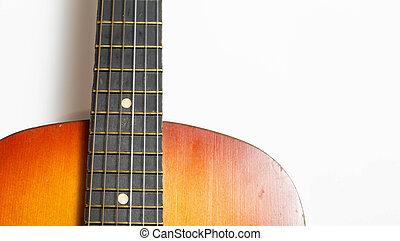 גיטרה, אקוסטי, רקע, לבן