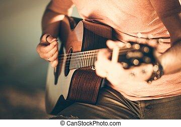 גיטרה, גטריסט, לשחק